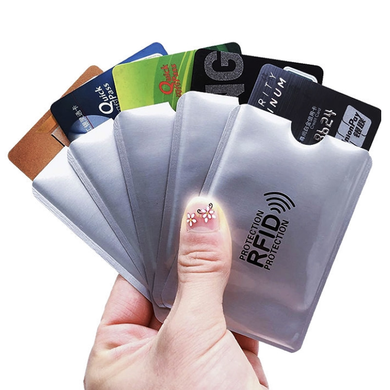 Anti Rfid Aluminium Wallet Blocking Reader Lock Bank Card Holder Id Bank Card Case Protection Metal Credit Card Holder 6*9.3cm