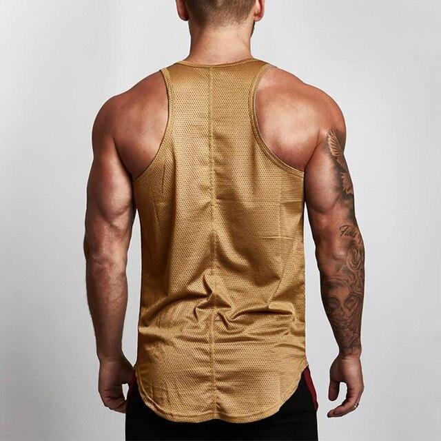 Summer Brand Fitness Tank Top Men Bodybuilding 2021 Gyms Clothing Fitness Men Shirt slim fit Vests Mesh Singlets Muscle Tops 3