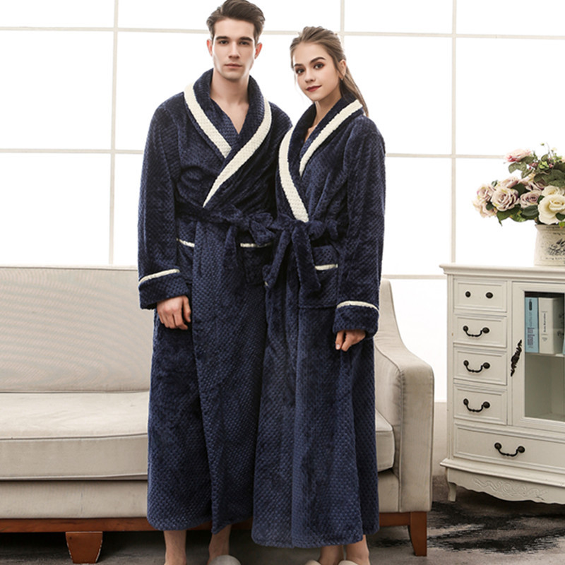 2018 Male Thicken Long Plus Size Terry String Bathrobe Female Winter Warm Flannel Solid Color Loose