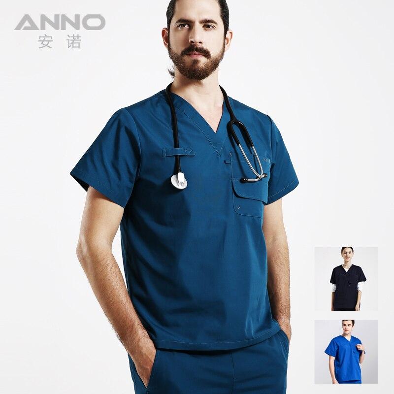 ANNO Спецодежда Медицинская Стоматологические халаты для женщин и мужчин короткий рукав одежда медсестры единые конструкции больничн