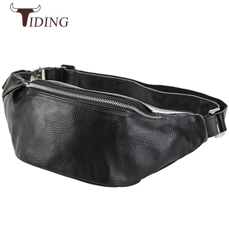 Tiding New Mens Designer Embossed Leather Waist Bag Casual Style Pillow Fanny Packs Bum Hip Belt Pouch Small Chest Pack Black