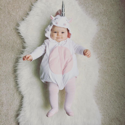 Cute Unicorn Baby Kids Girl Fleece Sleeveless Zipper Jumpsuit Hooded Outfits Cosplay Costume child bodysuits baby girl clothes girl