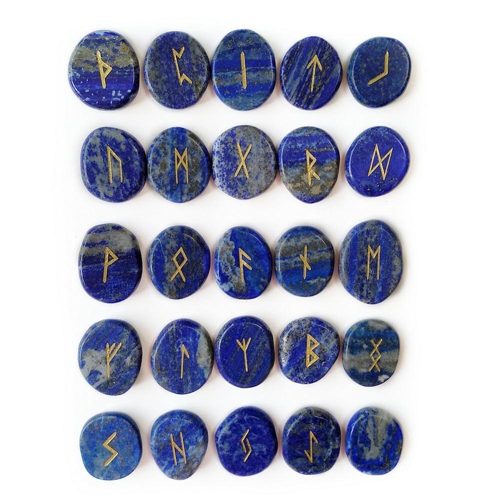 Natural Palm Lapis Lazuli Viking Rune Stones Set Carved Symbols Fortune Telling Divination Stones Amulet 25pcs & PouchNatural Palm Lapis Lazuli Viking Rune Stones Set Carved Symbols Fortune Telling Divination Stones Amulet 25pcs & Pouch