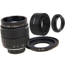 FUJIAN 50mm f/1.4 C Montar CCTV f1.4 Lens + Lente + Macro anel para Fuji Fujifilm X-Pro1 X-E1 X-E2 X-M1 X-A1 X-A2 X-T1