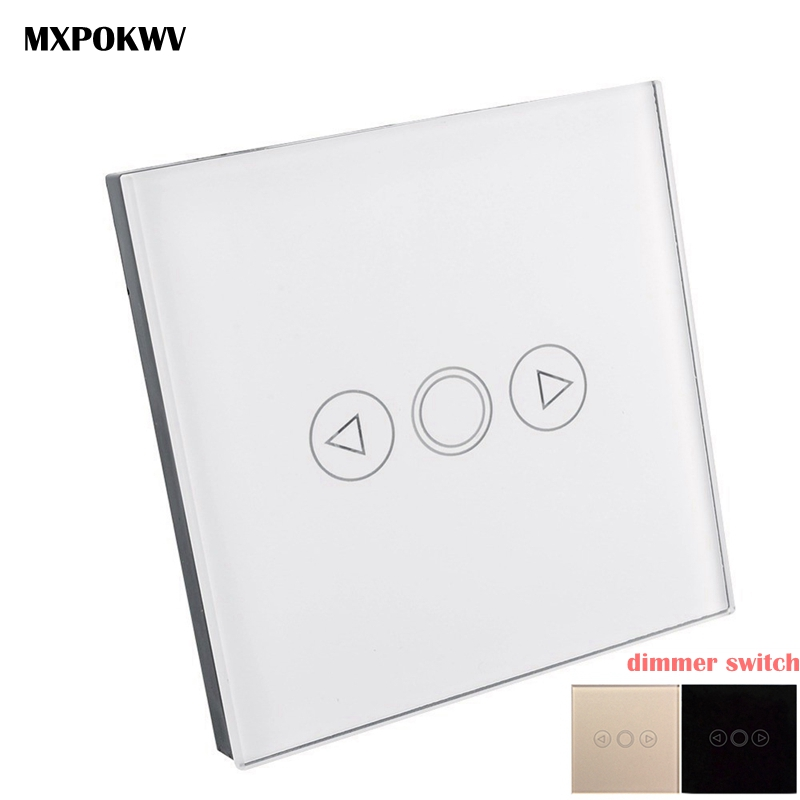 EU Standard 1 Gang 1 Way LED Dimmer Switch 220V, Crystal Glass Touch Panel Dimmer, Smart Switch Light EU for smart home module minitiger 1 gang eu standard wall light touch dimmer switch smart switch led dimmer switch for dimmable spot lights t601a t601b