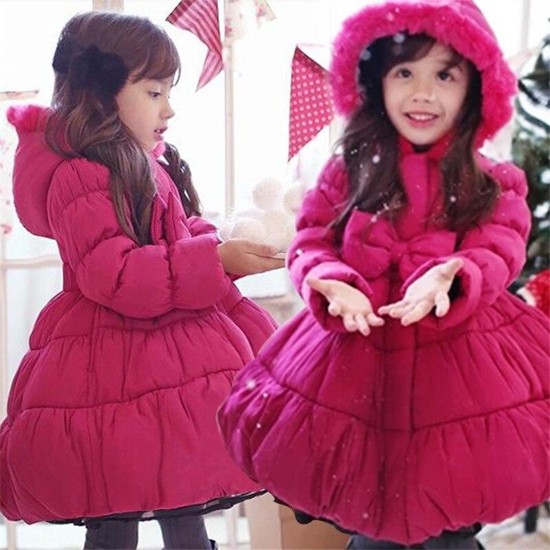 a84d8696c8a5 2018 Christmas Girls Long Coat Big Bow Collect waist hooded girl ...