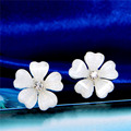 Hot Selling 3 Colors Pink White Black Hot Fashion Women's Party crystal Flower gold Plated Stud earrings for women