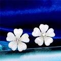 Venda quente 3 Cores Rosa Branco Preto das Mulheres do Hot Moda cristal Flor Banhado A ouro brincos para as mulheres Do Partido