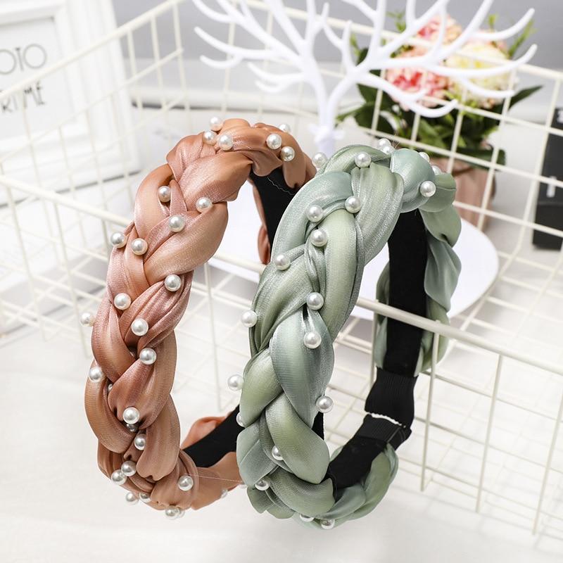 Haimeikang 2019 Vintage Spring Summer Pearl Satin Hair Ribbon Knitted Braided Headband Hairband Hair Accessories