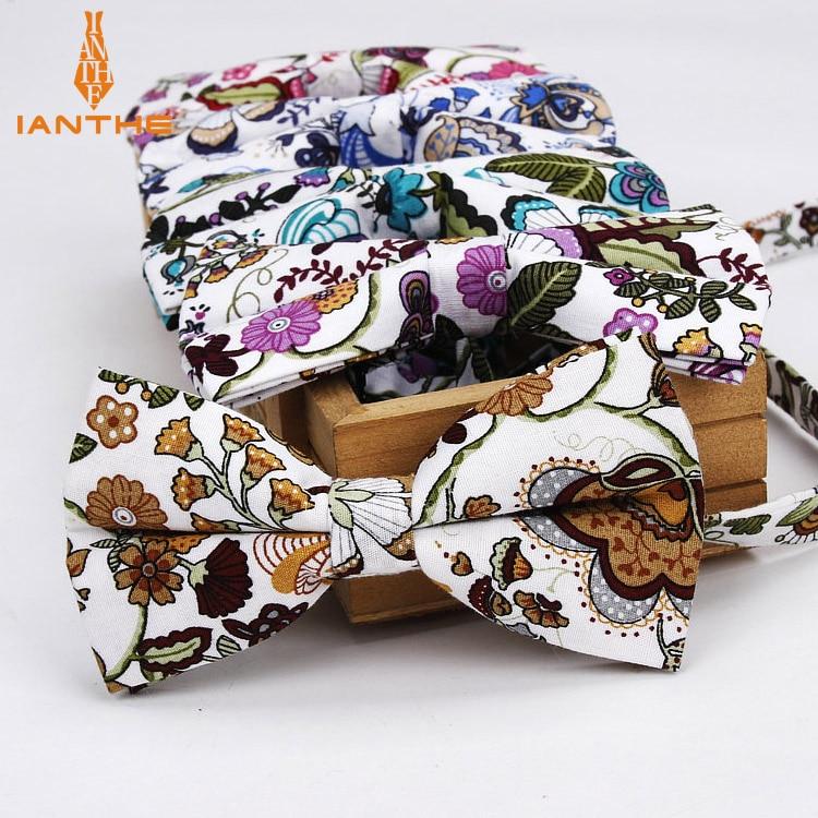 Ianthe Men Brand New Vintage Flower Print Wedding Bow Ties For Man Vestido Gravatas Groom Necktie Butterfly Fashion Bowties