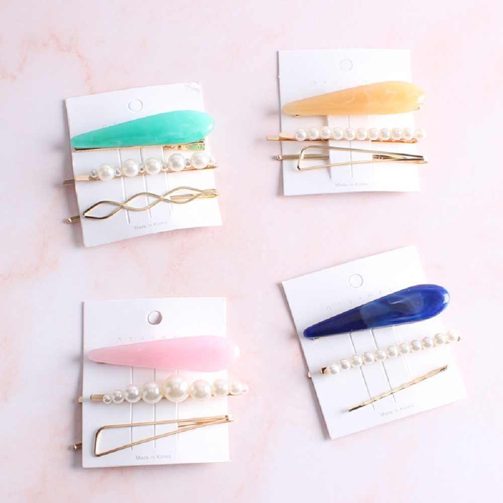 Hàn Quốc Sang Trọng Imitiation Kẹp Tóc Ngọc Trai Không Đều Vàng Kim Loại Acrylic Kẹp Tóc Cho Nữ Cô Gái Phụ Kiện Tóc