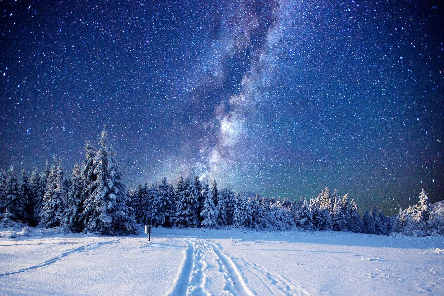 Norway Winter Snow Night Landscape Picture Poster