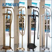 KEMAIDI Freestanding Bath Spout Shower Floor Mount Shower set Mixer Valve 2 Function Black/Chrome/Gold Bathtub Filler Mixer Taps