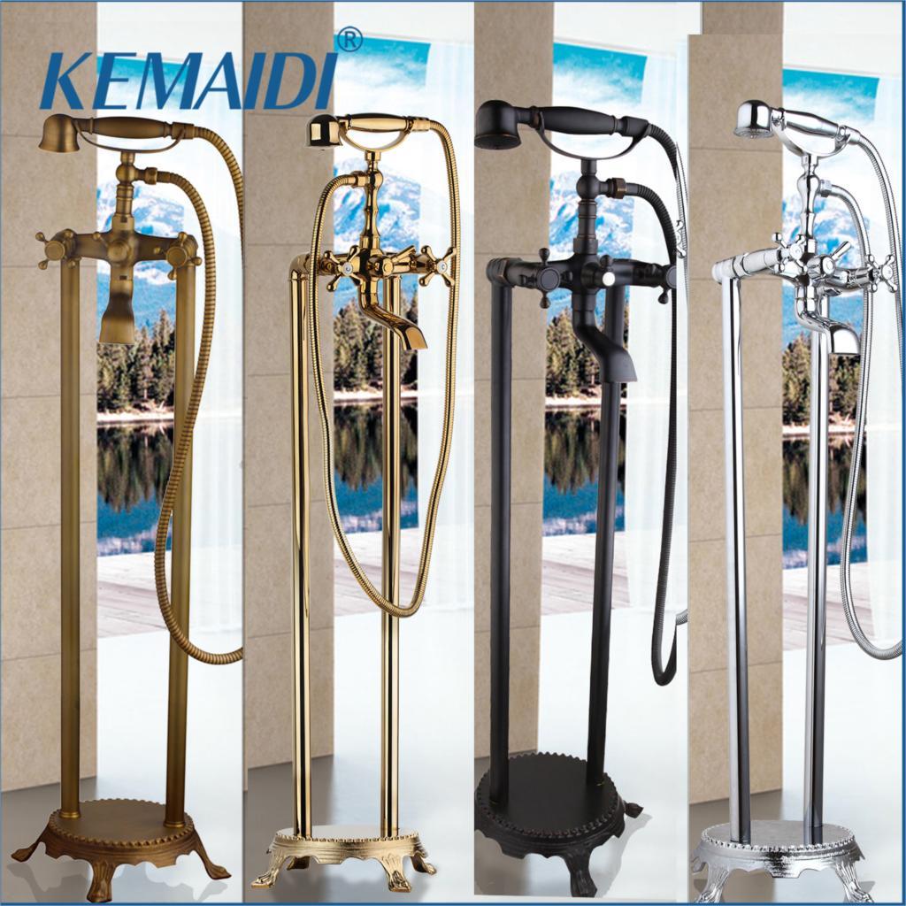KEMAIDI robinet de bain autoportant douche montage au sol ensemble de douche mitigeur vanne 2 fonction noir/Chrome/or mitigeur de baignoireKEMAIDI robinet de bain autoportant douche montage au sol ensemble de douche mitigeur vanne 2 fonction noir/Chrome/or mitigeur de baignoire