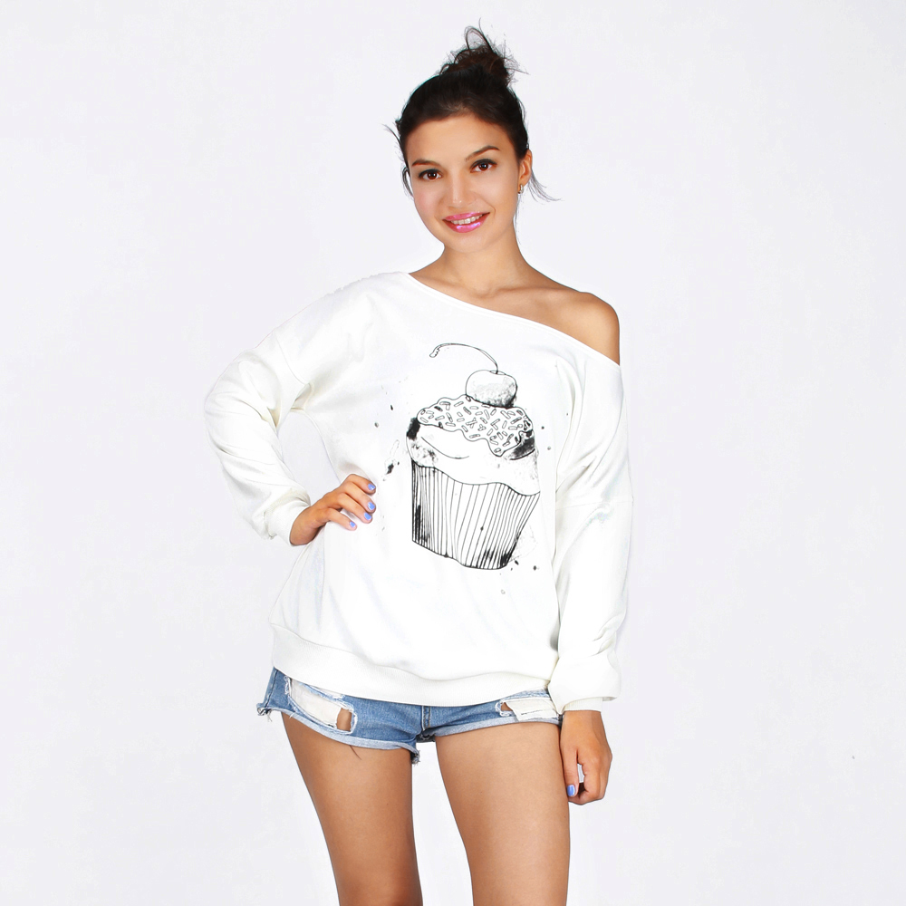3D Cakes Print Sweatshirts Sporting Jogger For Women 2017 Novelty Design Autumn Winter Casual Thick Warm One Shoulder Female Top