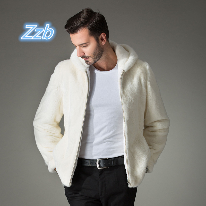 2018 Winter  Men's White Fur Coat Clothing Simulated Marten Overcoat Men With A Hood Jacket Men's Clothing Mink Fur Outwear