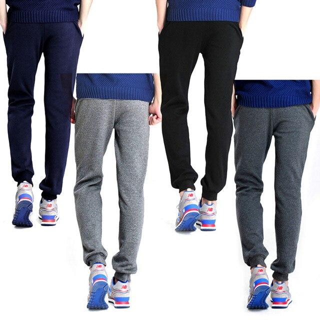 Mens Slim Fit Pantalones Largos Flacos Sudor Pantalones de Cuatro Colores