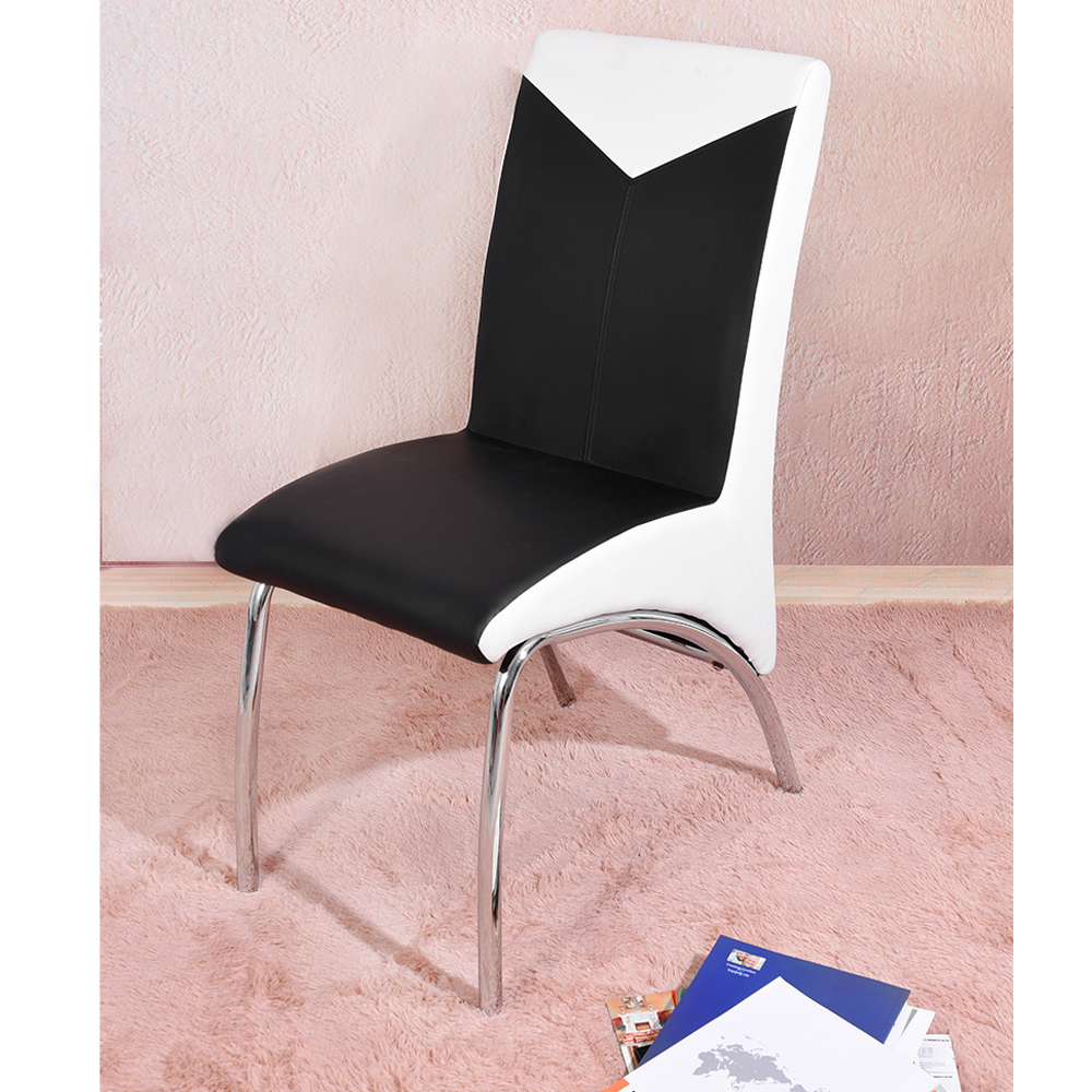 Chrome Dining Chair Modern Metal Dining Room Furniture Black & White Patchwork PU Cushion HOT SALE 240337 ergonomic chair quality pu wheel household office chair computer chair 3d thick cushion high breathable mesh
