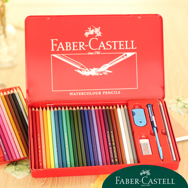 FABER-CASTELL Luxury Gift Set Water-Soluble Colored Pencils with Metal Case Package for Secret Garden Student Pencil School Pen