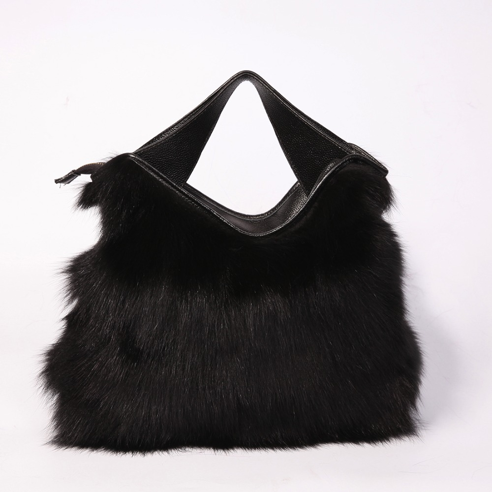 2017 Fashion Winter Warm Bag for Women Real Fox Fur Handbag Leather with Single Strap Christmas Ladies Messenger Shoulder Bags