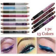 1 шт., 12 цветов, хайлайтер, блестящие тени для век, подводка для глаз, ручка для макияжа, прочный водонепроницаемый, устойчивый к поту, двухсторонний карандаш для глаз, макияж
