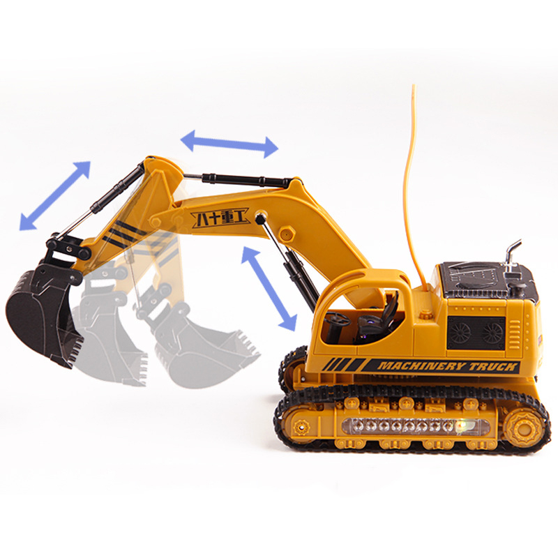 Remote Control Crawler Excavator Toys Large Alloy Engineering Bulldozer Charging RC Car with Led Light for Child Birthday Gift