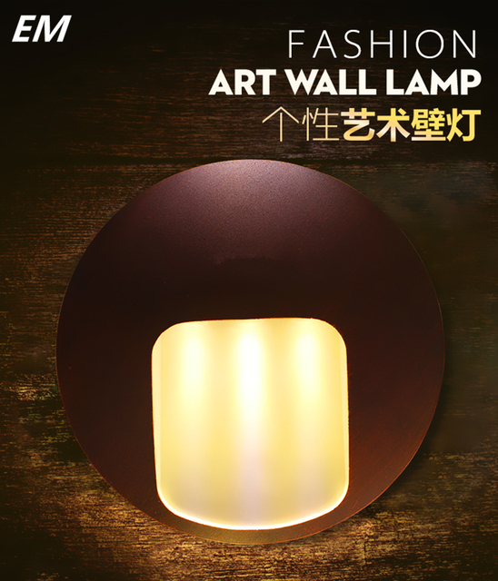Circular black 3w waterproof aluminum outdoor wall sconce led wall decor lighting frosted bedside lamp led