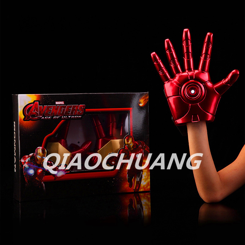 Avengers : Age of Ultron Superhero Iron Man Gloves With LED Light PVC Action Figure Collectible Model Toy Boxed W69 avengers age of ultron iron man hulk vision ultron war machine pvc action figures toys with led light 5pcs set