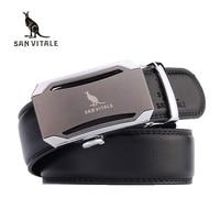 SAN VITALE New Designer Fashion Men Belts Automatic Buckle Genuine Split Leather Luxury Brand Belt Business