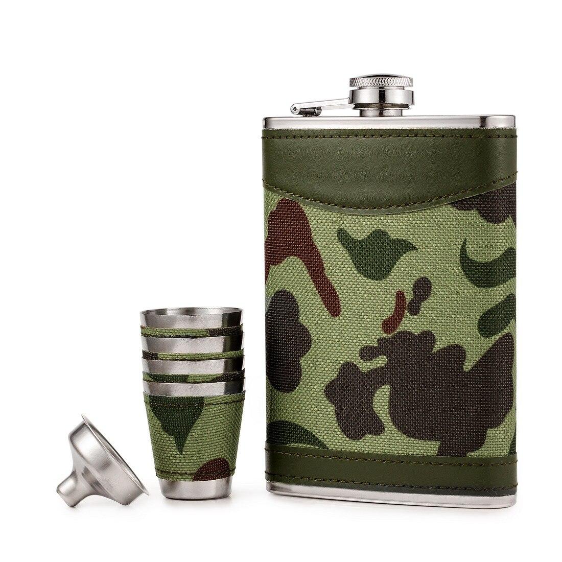 Carrywon 9 OZ Camo flacons d'alcool 18/8 flacon en acier inoxydable avec entonnoir preuve de fuite d'alcool whisky cadeau flacon de hanche ensemble pour hommes