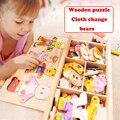 Blocos de brinquedos de madeira Quebra-cabeças de Animais Urso Roupas vestidos mudando brinquedos do miúdo 72 pcs jogos de blocos de madeira educacional brinquedo para crianças