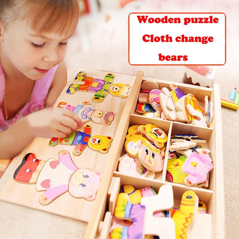 Mainan kayu, Blok Jigsaw hewan pakaian beruang, Gaun mengubah mainan anak, 72 pcs blok pendidikan kayu mainan untuk anak-anak