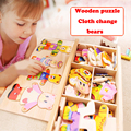 wooden toys  blocks Jigsaw Animal Bear Clothes dresses changing kid toys 72 pcs blocks educational wood games toy for children