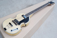 Free Shipping Factory custom shop High Quality Natural color flame maple body Hofner Violin 4 Strings bass Guitar 17 11