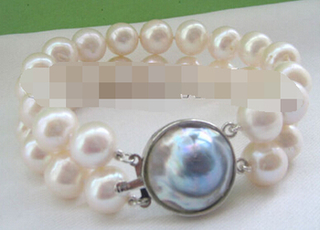 """shitou 00631 8 """" 2row 11-12mm natural white round freshwater pearl bracelet - Mabe pearl clasp"""