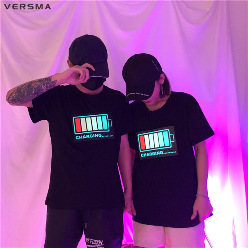VERSMA Korean Harajuku LED Sound Control Glowing Clothes T-shirts Male Summer Night Club Hip Hop Loose Couple T Shirts Men Women