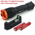 Big Discount!  CREE XM-L T6 2000 Lumens 7 mode Zoomable Led flashlight torch + 2* 18650 4000mah Battery + Charger