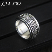 FYLA MODE Six Words Om Mani Padme Hum Mantra Ring For Men Women Handmade Real Pure 925 Sterling Silver Jewelry Vintage Style