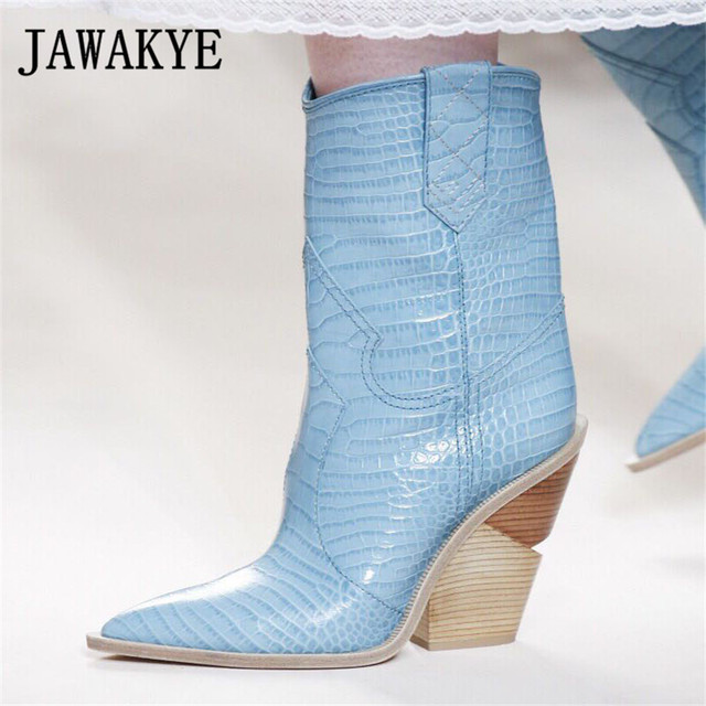 927214d5ddb9 New Spike Wood Heel Ankle boots women Genuine leather snake pattern Blue  White Motorcycle Party Boots High Heel Shoes Woman
