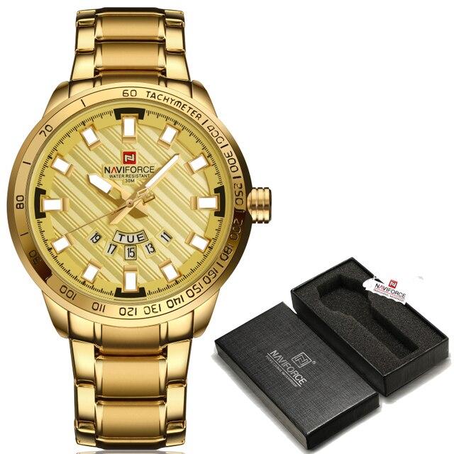 2017 חדש יוקרה מותג NAVIFORCE שעונים גברים ספורט מלא פלדת קוורץ שעון איש 3ATM עמיד למים שעון היד הצבאי של הגברים שעונים