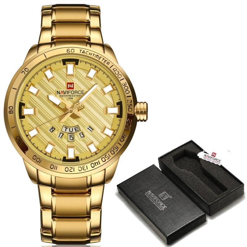 2017 Novo NAVIFORCE Relógios Dos Homens Do Esporte de Luxo Da Marca Completa de Aço Relógio de Quartzo Homem 3ATM À Prova D' Água Relógio de Pulso Militar Dos Homens relógios