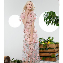 Best Quality New Designer Summer Long Dress 2016 Women Appliques Floral Organza Silk Sexy Pink Sweetheart