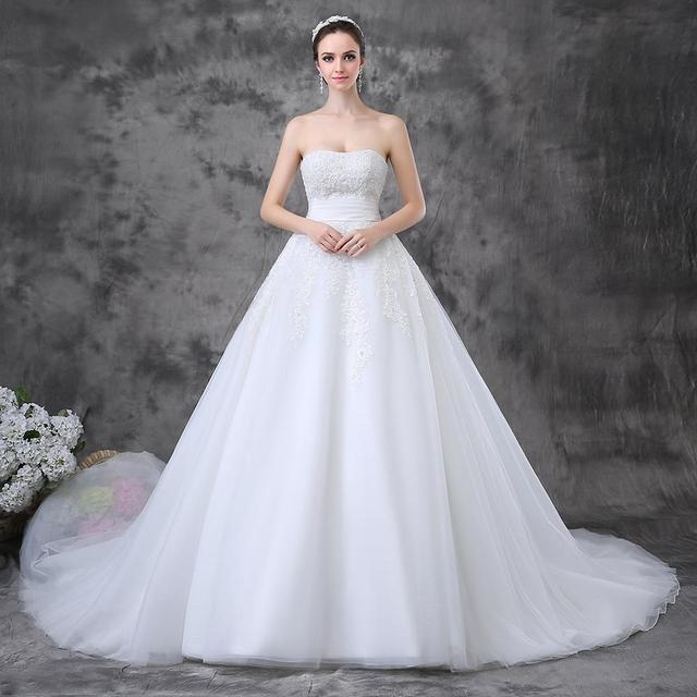 Strapless Organza Lace Ball Gown Long Tail Wedding Dresses Bridal Gowns
