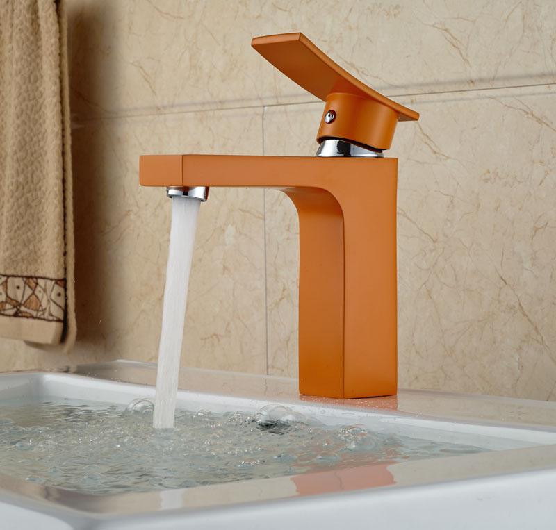 Deck Mounted Brass Basin Faucet Single Lever Bathroom Vessel Sink Tap Orange Color square international award design brass single lever bathroom basin faucet bathroom sink faucet bathroom faucet