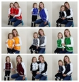 2016 Hot Sale Good Quality Mother Daughter Sweaters Family Look Baseball Uniform Type Matching Mother Daughter Clothes 9 Colors
