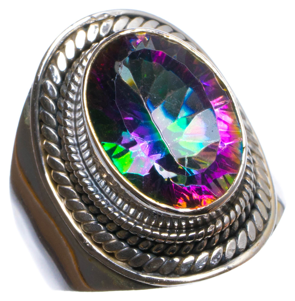 StarGems(tm) Natural Mystical Topaz Handmade Unique 925 Sterling Silver Ring, US size 6.75 X2850 цена