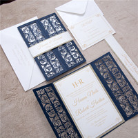 200 set lot Printing Paper Laser cutting Invitations Anniversary Birthday Party invite card wedding party invitation wholesale