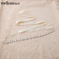 TOPQUEEN S277 Crystal Wedding Evening Party Gown Dresses Accessories Bride Bridesmaid Bridal Waist Belts Sashes