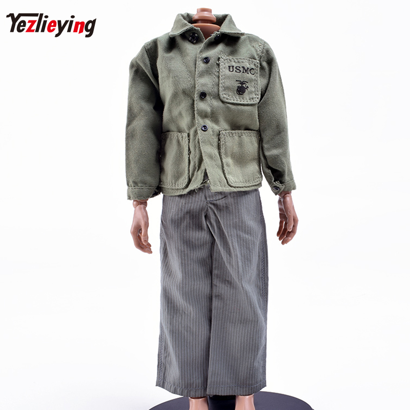 1/6 Scale Soldier Clothing accessories USMC Uniforms Jacket Striped Pants Clothes suit For 12inch Phicen Male HT toys Figure