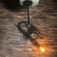 LOFT retro industrial wind iron Sax chandelier restaurant coffee bar antique creative personality Chandelier Loft Retro lamps